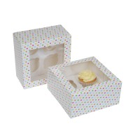 House of Marie 4-Cupcake Doos Confetti -2st-