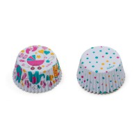 Decora Baking Cups Babyshower Girl & Dots -36st-