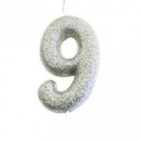 Moulded Glitter Candle Silver Number 9