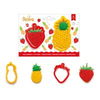 Decora Cookie Cutter Set Pineapple & Strawberry -2st-