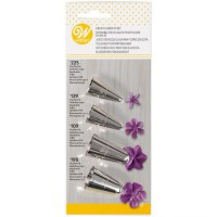 Wilton Decorating Tip Set Flowers 109, 129, 190, 225