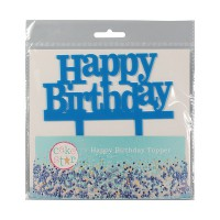 Cake Star Taarttopper Happy Birthday Blauw