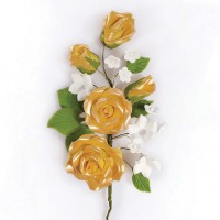 Gumpaste Rose Flower Spray Gold -14,5cm-
