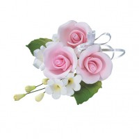 Gumpaste Trio Rose Spray Pink -10cm-
