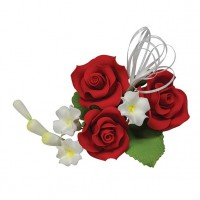 Gumpaste Trio Rose Spray Red -10cm-