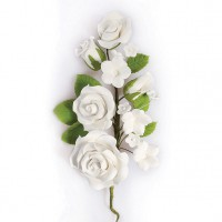 Gumpaste Rose Flower Spray White -14,5cm-