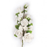 Gumpaste Rose Flower Spray White -17cm-