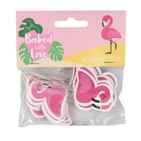 Baked with Love Cupcake Toppers Flamingo -24st-