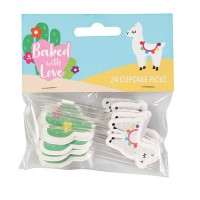 Baked with Love Cupcake Toppers Llama & Cactus -24st-