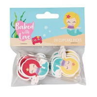 Baked with Love Cupcake Toppers Mermaid -24st-
