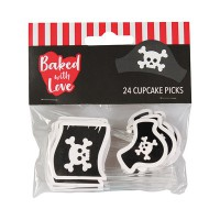 Baked with Love Cupcake Toppers Pirate -24st-