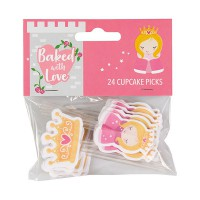 Baked with Love Cupcake Toppers Prinses -24st-