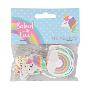 Baked with Love Cupcake Toppers Unicorn & Rainbow -24st-