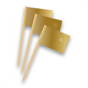 Cupcake Toppers Vlag Goud -50st-