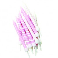 Candles Polka Dot Stripes Light Pink & White -