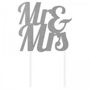 Creative Party Cake Topper Silver Glitter Mr & Mrs