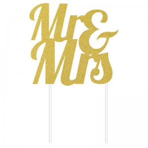 Creative Party Cake Topper Gold Glitter Mr & Mrs