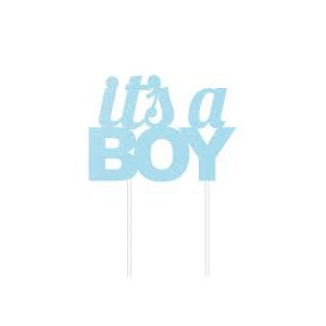 Creative Party Cake Topper Blue Glitter It's a Boy