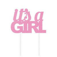 Creative Party Cake Topper Pink Glitter It's a Girl