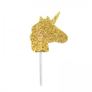 Creative Party Cupcake Toppers Gold Glliter Unicorn -12st-