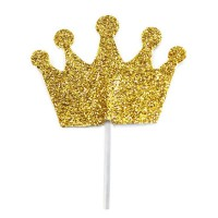 Creative Party Cupcake Toppers Gold Glliter Crown -12st-