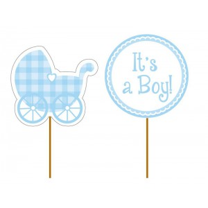 Creative Party Cupcake Toppers Blue Baby Boy -12st-