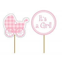 Creative Party Cupcake Toppers Pink Baby Girl -12st-