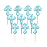 Cupcake Toppers Holy Communion Blue -36st-
