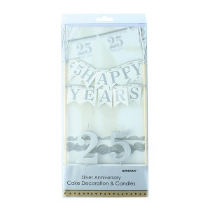 Cake Topper 25 Years Bunting & Candles