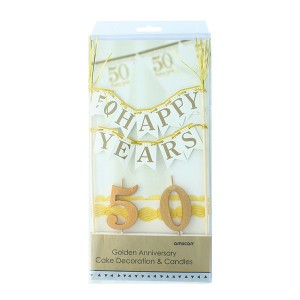 Cake Topper 50 Years Bunting & Candles