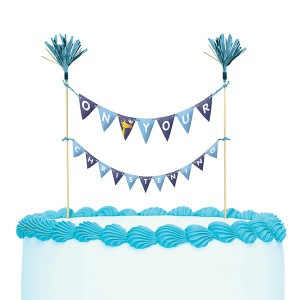 Bunting Cake Topper On Your Christening Blue