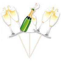 Cupcake Toppers Champagne Flessen -10st-