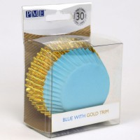 PME Foil Lined Baking Cups Blue with Gold Trim -30st-