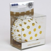 PME Foil Lined Baking Cups Gold Polka Dot -30st-