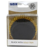 PME Foil Lined Baking Cups Black with Gold Trim -30st-