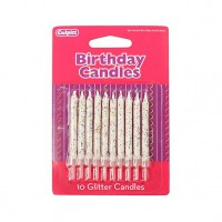 Glitter Candles White -10st-