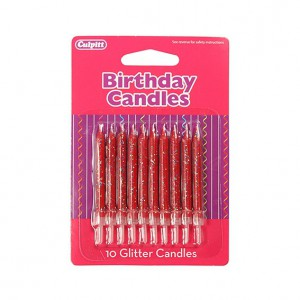 Glitter Candles Red -10st-