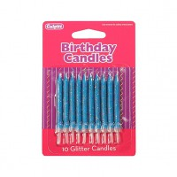 Glitter Candles Blue -10st-