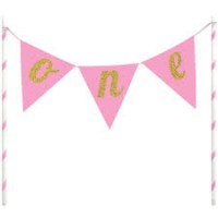 Creative Party Banner Cake Topper Pink 'One'