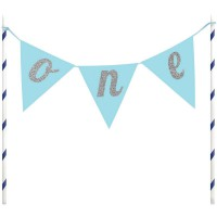 Creative Party Banner Cake Topper Blue 'One'