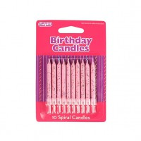 Glitter Candles Blossom Pink -10st-