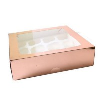 Luxe 12-Cupcake Box Rose Gold -2st-
