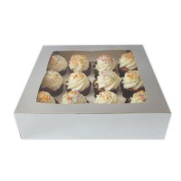 Luxe 12-Cupcake Box Silver -2st-