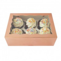 Luxe 6-Cupcake Box Rose Gold -2st-
