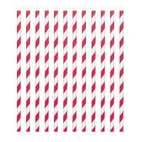 Paper Straws Candy Stripe Red -24st-