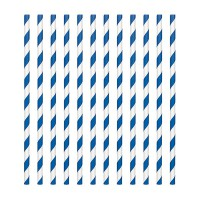 Paper Straws Candy Stripe Royal Blue -24st-