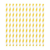 Paper Straws Candy Stripe Yellow -24st-