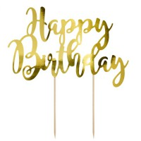 PartyDeco Cake Topper Happy Brithday Goud