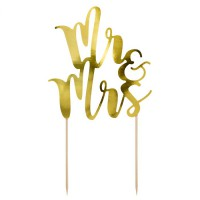 PartyDeco Taarttopper Mr&Mrs Goud