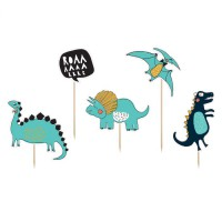 PartyDeco Taarttoppers Dinosaurus 10,5-20cm -5st-